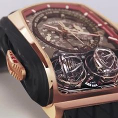 luxury watches Complicated elegance, with twin sequential triple axis tourbillons and 832 components, will pull you to check your wrist for more than just Stylish Watches, Luxury Watches For Men, Leather Watches For Men, Amazing Watches, Cool Watches, Tourbillon Watch, Skeleton Watches, Expensive Watches, Patek Philippe