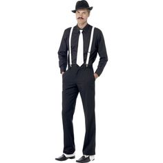 Buy Gangster Instant Kit, available for Next Day Delivery. Gangster Instant Kit comes complete with White Braces & Tie, Hat, Spats and Spiv Tash.Hat also include a White Ribbon Band. 1920s Mens Costume, Gangster Fancy Dress, Gatsby Costume, Costume Hats, Costume Dress, Fancy Dress Accessories, Costume Accessories, Estilo Charleston, Man Fashion