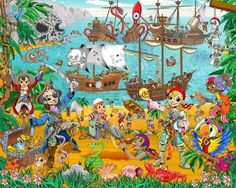 Fotomural Infantil Pirate And Treasure Adventure Jack Le Pirate, Preschool Pirate Theme, Sea Illustration, Murals For Kids, Hidden Pictures, Pirate Treasure, Pirate Party, Classroom Themes, Cool Artwork