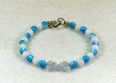 Baby Blue and White Italian Milefiore Beaded Bracelet #746  $14.00 http://www.artfire.com/ext/shop/studio/HCLTreasures