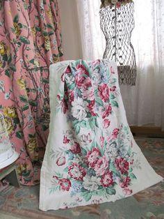 Vintage Barkcloth Drape Panel Fabric  Shabby by PerfectPieLady, $38.00