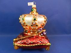 Crown jewels on pillow with scepter. Glass Christmas ornament made in Poland for Vintage Treasures Ornaments.