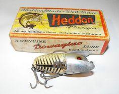 VINTAGE WOODEN HEDDON 2120 XRS CRAZY CRAWLER FISHING LURE W/BOX