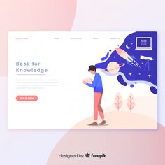 Creative landing page template Free Vector Web And App Design, Flat Web Design, Ux Design, Game Design, Layout Design, Vector Design, Design Elements, Website Design Inspiration, Graphic Design Inspiration
