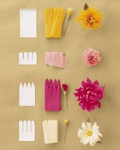 Tissue paper flowers. An idea for mixing in where fresh flowers wouldn't work, and also great idea for a wedding shower. Cheaper than fresh too