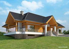 Projekty dom w LK Projekt LK 1116 wizualizacja 1 Cottage Style House Plans, Bungalow House Design, Tiny House Cabin, Small House Plans, My Home Design, Home Design Plans, Woodland House, A Frame House, Bungalows