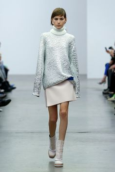 Crackled silver metallic sweatshirt and a pastel pink minimalist skirt at Iceberg AW14 MFW. More images here: http://www.dazeddigital.com/fashion/article/19018/1/iceberg-aw14