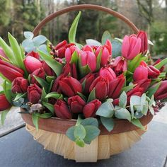 If you're into flowers, be sure to give your valentine a local, seasonal bouquet to minimize your carbon footprint! Tulips Flowers, Pretty Flowers, Fresh Flowers, Spring Flowers, Red Tulips, Beautiful Flower Arrangements, Floral Arrangements, Happy Birthday Flower, Tulip Bouquet