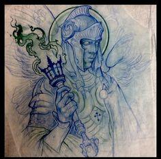 Tattoo Sketches, Tattoo Drawings, Art Drawings, Tattoo Studio, Medieval Tattoo, Knight Tattoo, Desenho Tattoo, Arte Horror, Flash Art
