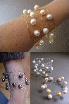 DIY Wire and Pearl Knitted Cuff. Love this tutorial because instructions are given for three different types of wire and their corresponding gauges (sterling,galvanized steel andgold filled with copper core). Also, the cuff is knit on big needles: #9 or #11 and Ravelry users rated it as very easy or easy. Tutorial and easy PDF pattern by COCO Knits here.