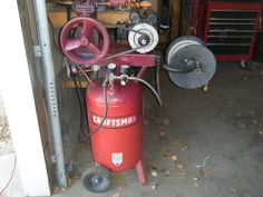 Air Compressor by jtr -- Homemade air compressor fashioned from two defective units and powered by an inexpensive 2hp electric motor. http://www.homemadetools.net/homemade-air-compressor-3
