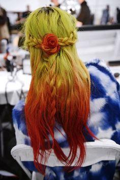 Multicolor braids at the intense, trippy Rodarte show. Photo by Nina Westervelt/MCV Photo.
