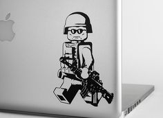LEGO Modern Minifig Vinyl Decal - Version 1 from StickerWhale.com.  The EOD Iraq & Afghanistan LEGO soldier vinyl decal is perfect for laptops or car windows.  They have multiple sizes and colors available.