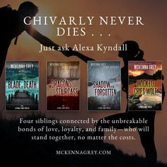 A romantic suspense series filled with spine-tingling thrills and alluring romance. Set against some of America's most beautiful landscapes, from the Blue Ridge Mountains of North Carolina and the Highlands of Maine, to the sweeping peaks of Alaska. You're bound to fall in love with the characters—and their surroundings. (McKenna Grey) • #romanticsuspense #novel #reading #fictionbook #thrillerbook #book #fallreading Dragon Blade, Contemporary Romance Novels, Thriller Books, Chivalry, Fiction Books, Crying, Wicked, Author, Romantic