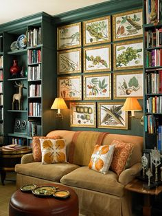 Home libraries make for the coziest room decor. I could snuggle on this love seat all afternoon! Home Library Design, House Design, Book Design, Living Room Decor, Living Spaces, Art Deco Interior Living Room, Home Libraries, Public Libraries, Green Rooms