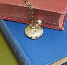 Vintage Locket  Necklace Flowers Antique Brass Vintage Inspired Pink Czech Flowers Pearl in Canada on Etsy, $16.53 CAD