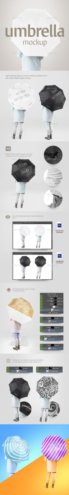 Umbrella Mockup by rebrandy Product includes:psd with white umbrella ready, back view and side view (each photo 5200 Ñ… 2600 px, 300 dpi)