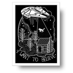 I want to believe Millennium Falcon black print / la barbuda
