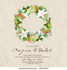 merry christmas and happy new year card christmas wreath
