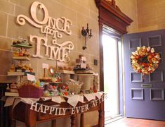 Project Denneler: Vintage Book Dessert Table\ Once upon a time: do our histories, like us as kids. Storybook Baby Shower, Baby Shower Pictures, Disney Desserts, Disney Bridal Showers, Wedding Showers, Baby Shower Brunch, Baby Shower Themes, Shower Ideas, Deco Table