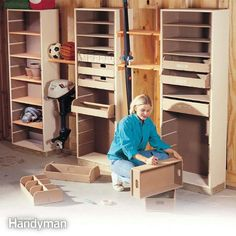 this adjustable storage system is perfect for organizing all of the odds and ends that clutter up your garage. customize these towers to fit your needs and you'll have a tidy garage in no time!