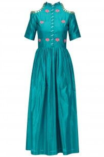 Turquoise Blue Gota Patti Work Cold Shoulder Maxi Dress #ayinat #shopnow #ppus #Hppayshopping