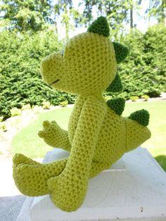 Eddie the Dinosaur Crocheted Toy by CurlyTopCorner on Etsy, $29.99