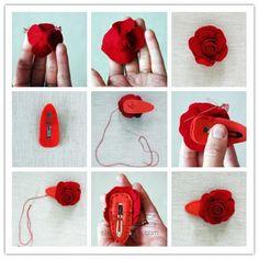 Faça Você Mesmo - Presilhas para cabelo de rosas multicoloridas de feltro