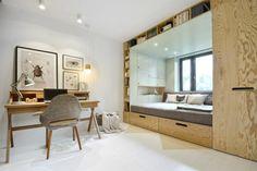 Blog wnętrzarski - design, nowoczesne projekty wnętrz: Jak urządzić mały pokój - pomysł na zabudowę do pokoju nastolatka