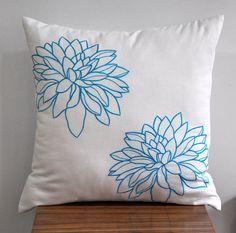 Flower Pillow Cover Decorative Pillow White Linen Blue by KainKain