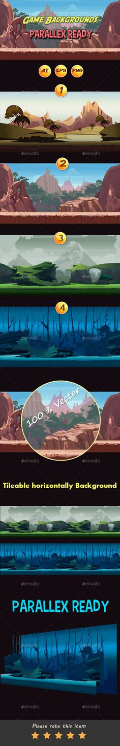 4 Game Background — Vector EPS #game design #level game background • Available here → https://graphicriver.net/item/4-game-background/15696157?ref=pxcr