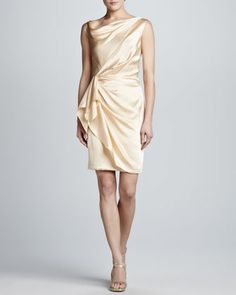 Hammered Silk Wrap-Skirt Dress, Vintage Champagne by J. Mendel at Neiman Marcus.