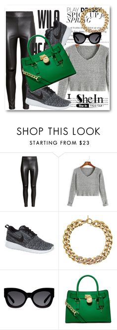 """Sheinside contest !!"" by dianagrigoryan ❤ liked on Polyvore featuring H&M, NIKE, Michael Kors, Karen Walker and MICHAEL Michael Kors"
