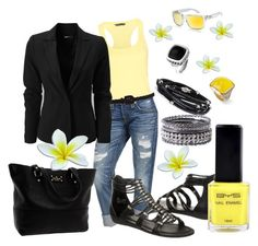 Yellow and Black by missyfer88 on Polyvore featuring MANGO, True Religion, Kate Spade, Tomasz Donocik, Ariella Collection, Nuovegioie and Oakley