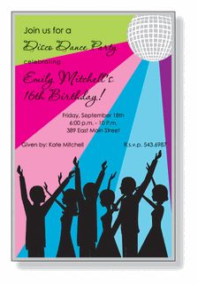 """Disco Party Invitations - no disco, different colors. love the group, maybe in a """"resort"""" setting"""