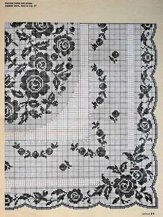 "Photo from album ""Покрывала"" on Yandex. Crochet Patterns Filet, Crochet Motif, Crochet Doilies, Crochet Stitches, Cross Stitch Designs, Cross Stitch Patterns, Mantel Redondo, Cross Stitch Freebies, Fillet Crochet"