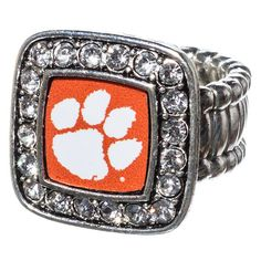 J and D Jewelry and More - Clemson University Silver Tone Stretch Ring with Square Paw Print Center, $11.99