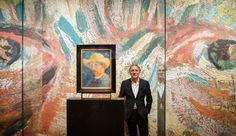 Great-grandchild of Vincent van Gogh's brother Theo, Willem van Gogh, poses next to a self portrait of Dutch Post-Impressionist painter Vincent van Gogh on the ground floor of the Vincent van Gogh museum on November 25, 2014 in Amsterdam, Netherlands. The new presentation of the permanent collection of Vincent van Gogh (1853-1890) works focuses on the development of the artist and the myths surrounding Van Gogh's suicide, illness and ear are discussed in detail for the first time at the ...