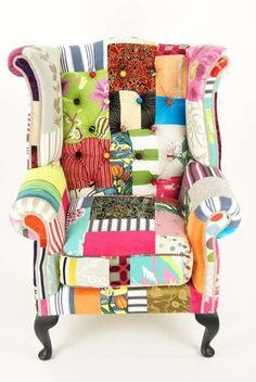 Vintage Patchwork furniture - great idea for my sewing room