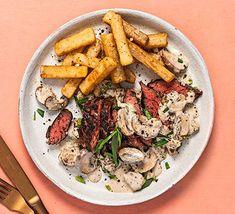Bavette steak with chips, tarragon Venison Steak, Beef, Steak And Chips, Homemade Chips, Cream Pasta, Watercress Salad, Mushroom Sauce, How To Cook Steak