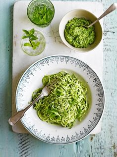 Courgette 'spaghetti' with rocket pesto. I'll have to use vegan ...