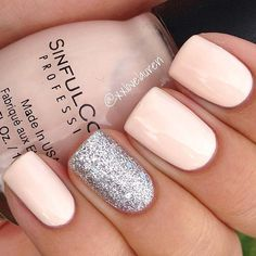 Elegant Nails with Silver Glitter Accent Nail