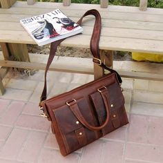 "Vintage Handmade Crazy Horse Leather Briefcase / Messenger / 14"" Laptop 13"" 15"" MacBook Bag"