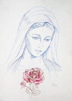 Blessed most beautiful Mother Mary Jesus Mother, Blessed Mother Mary, Blessed Virgin Mary, Mother Mary Images, Images Of Mary, Jesus Drawings, Art Drawings, Catholic Art, Religious Art