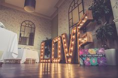 The Hire Supplier Illuminated 'LOVE' letters @ The Walton Park Hotel Popcorn Stand, Bristol England, Park Hotel, Love Letters, United Kingdom, Rustic, Table Decorations, Furniture, Vintage