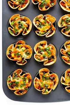 Easy Enchilada Cups -- quick and easy to make with your favorite fillings, and perfect for a party! | gimmesomeoven.com