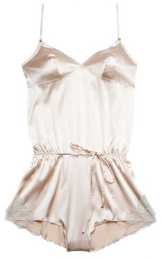 Rosy silk and lace romper