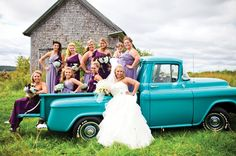Stephanie's dad let her drive around town in his classic Chevy, posing for pictures, on her wedding day. The bright teal went perfectly with her peacock-colored themed Maine wedding. To see more photos from this wedding, follow the link: http://realmaineweddings.com/Maine-Weddings/Stephanie-Robby.aspx Photo by Sierra Kristen Photography