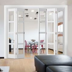 Internal Slimline Folding Doors – Page 2 Internal Folding Doors, Glass Room Divider, Black Interior Doors, Separating Rooms, Architrave, Oak Doors, Single Doors, Painted Doors, Beveled Glass
