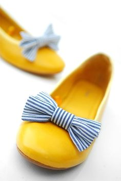 Nautical blue and white shoe bow clips and yellow flats Yellow Flats, White Shoes, Bow Shoes, Me Too Shoes, Stuffed Animals, Shoe Gallery, Mellow Yellow, Colour Yellow, Yellow Stripes